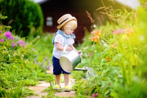 Cute toddler boy in straw hat watering plants